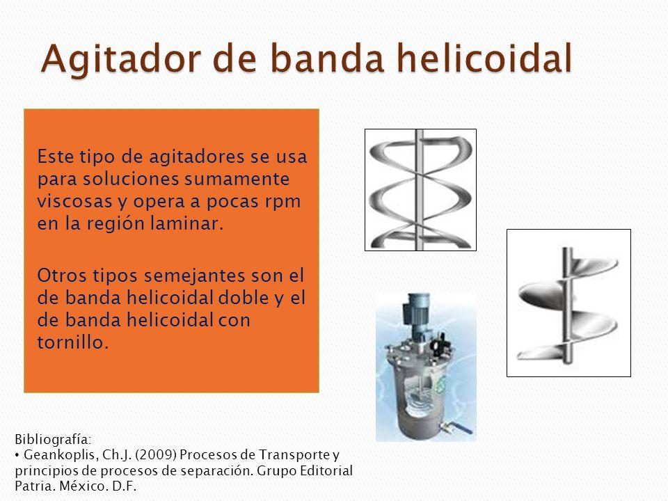 Este tipo de agitadores se usa para soluciones sumamente viscosas y opera a pocas rpm en la región laminar. Otros tipos semejantes son el de banda hel