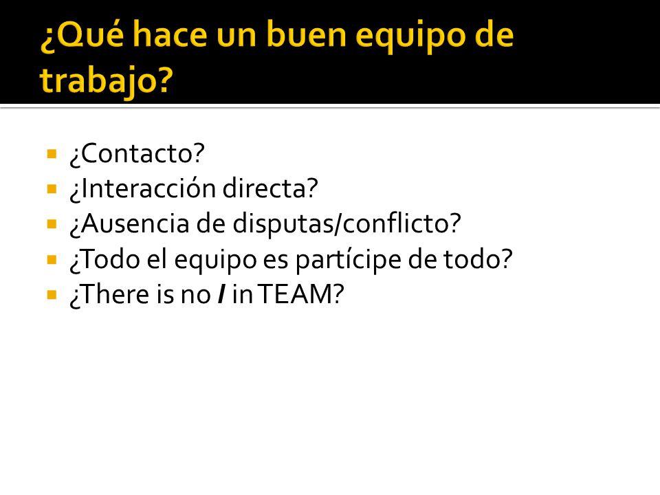 ¿Contacto? ¿Interacción directa? ¿Ausencia de disputas/conflicto? ¿Todo el equipo es partícipe de todo? ¿There is no I in TEAM?