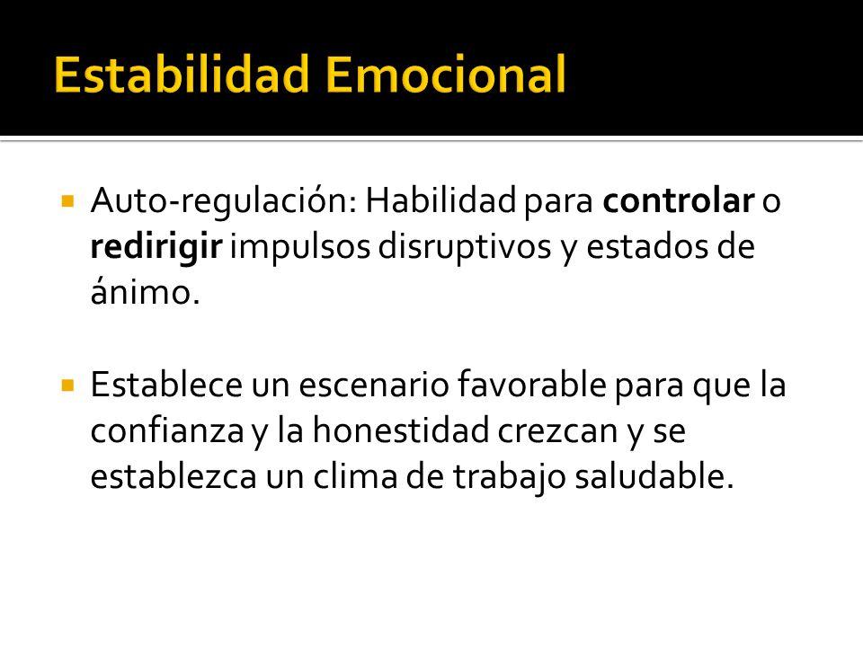 Auto-regulación: Habilidad para controlar o redirigir impulsos disruptivos y estados de ánimo. Establece un escenario favorable para que la confianza