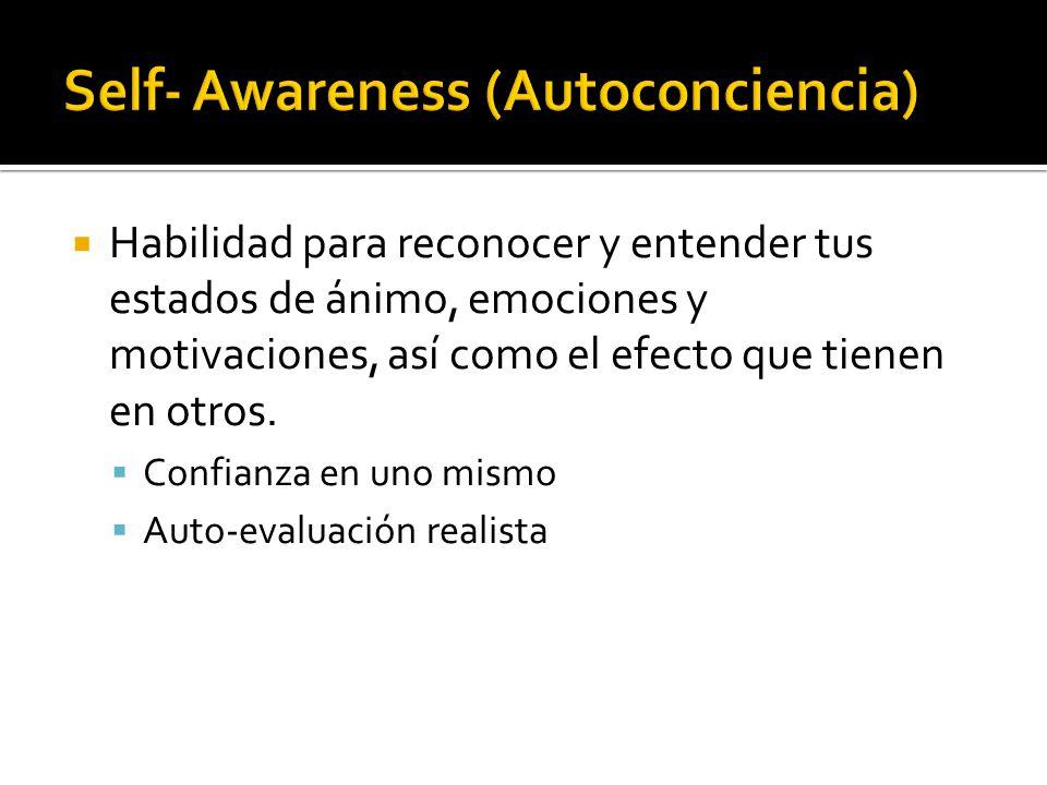 Auto-regulación: Habilidad para controlar o redirigir impulsos disruptivos y estados de ánimo.