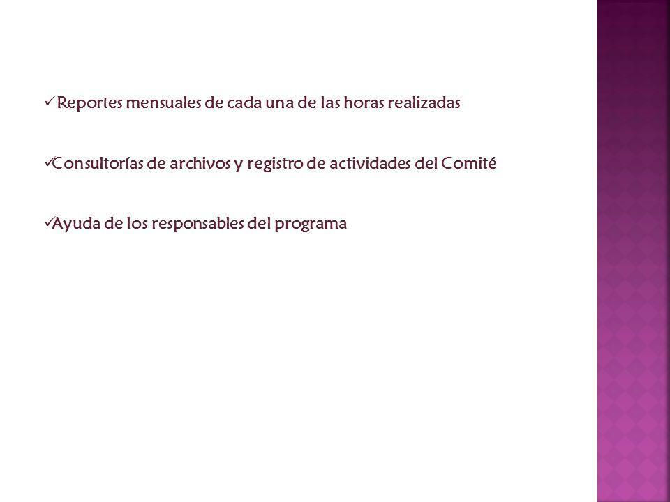 Reportes mensuales de cada una de las horas realizadas Consultorías de archivos y registro de actividades del Comité Ayuda de los responsables del programa