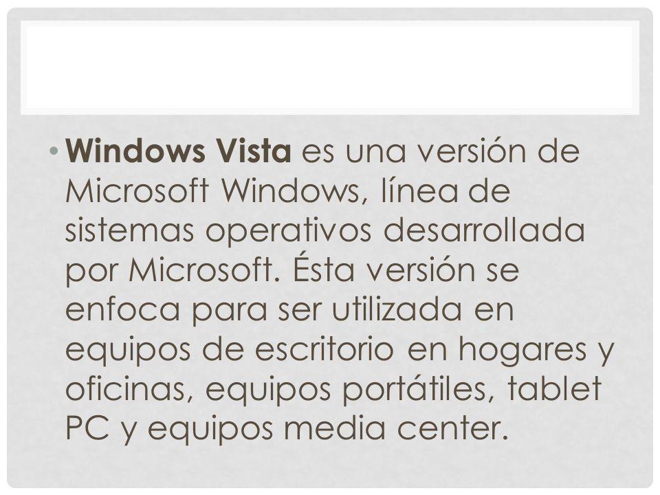 Windows Vista es una versión de Microsoft Windows, línea de sistemas operativos desarrollada por Microsoft. Ésta versión se enfoca para ser utilizada