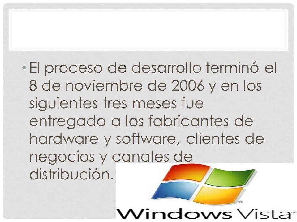 El proceso de desarrollo terminó el 8 de noviembre de 2006 y en los siguientes tres meses fue entregado a los fabricantes de hardware y software, clientes de negocios y canales de distribución.