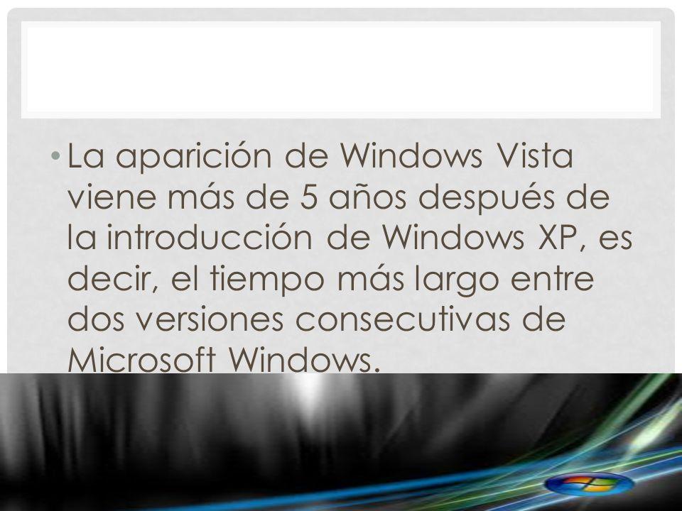 La aparición de Windows Vista viene más de 5 años después de la introducción de Windows XP, es decir, el tiempo más largo entre dos versiones consecutivas de Microsoft Windows.