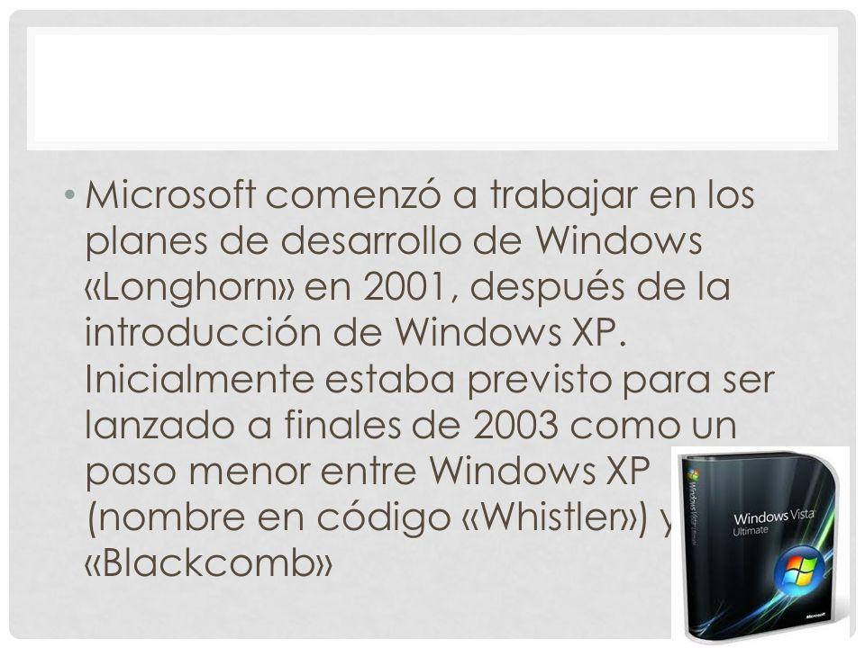 Microsoft comenzó a trabajar en los planes de desarrollo de Windows «Longhorn» en 2001, después de la introducción de Windows XP. Inicialmente estaba