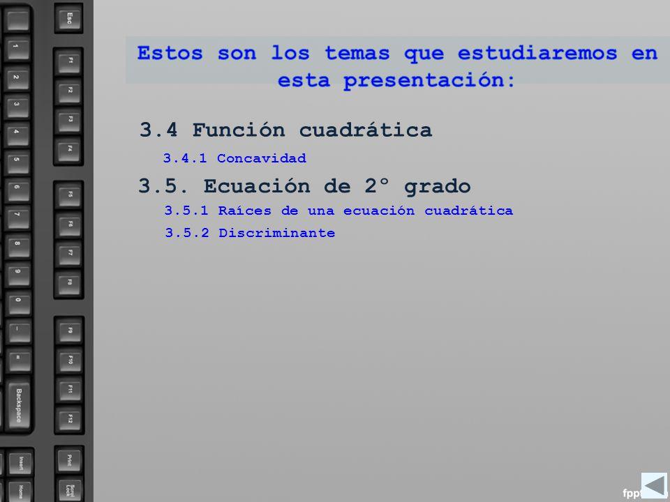 3.4 Función cuadrática 3.5. Ecuación de 2º grado 3.4.1 Concavidad 3.5.1 Raíces de una ecuación cuadrática 3.5.2 Discriminante