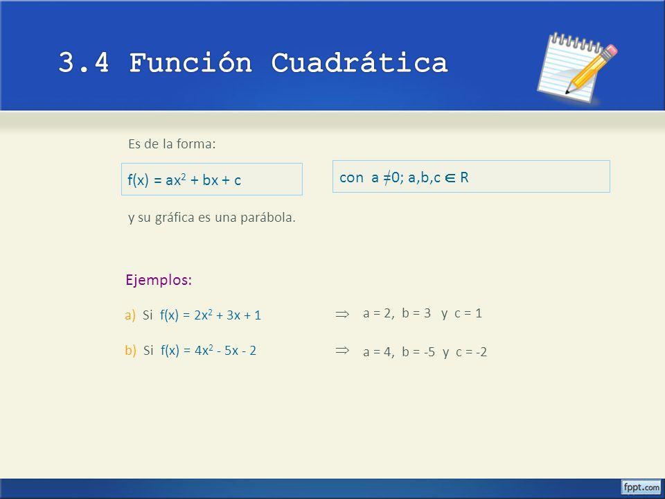 Es de la forma: f(x) = ax 2 + bx + c Ejemplos: y su gráfica es una parábola. a) Si f(x) = 2x 2 + 3x + 1 b) Si f(x) = 4x 2 - 5x - 2 a = 2, b = 3 y c =
