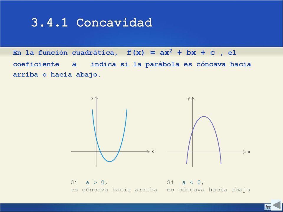 En la función cuadrática, f(x) = ax 2 + bx + c, el coeficiente a indica si la parábola es cóncava hacia arriba o hacia abajo. Si a > 0, es cóncava hac