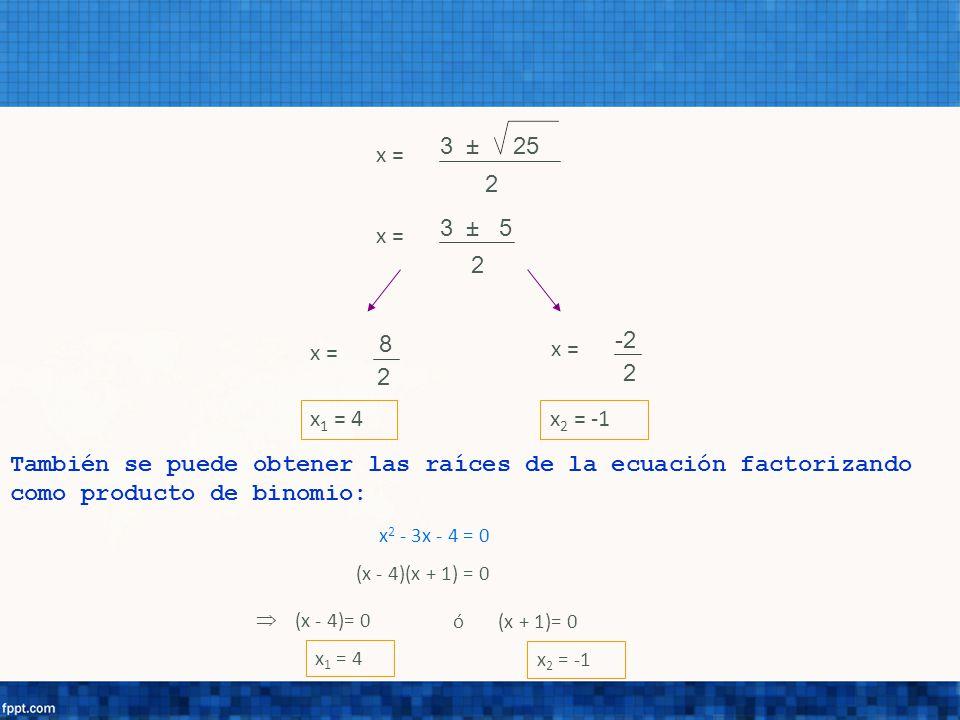 3 ± 25 2 x = 2 3 ± 5 2 x = 8 2 -2 x 1 = 4x 2 = -1 También se puede obtener las raíces de la ecuación factorizando como producto de binomio: x 2 - 3x -