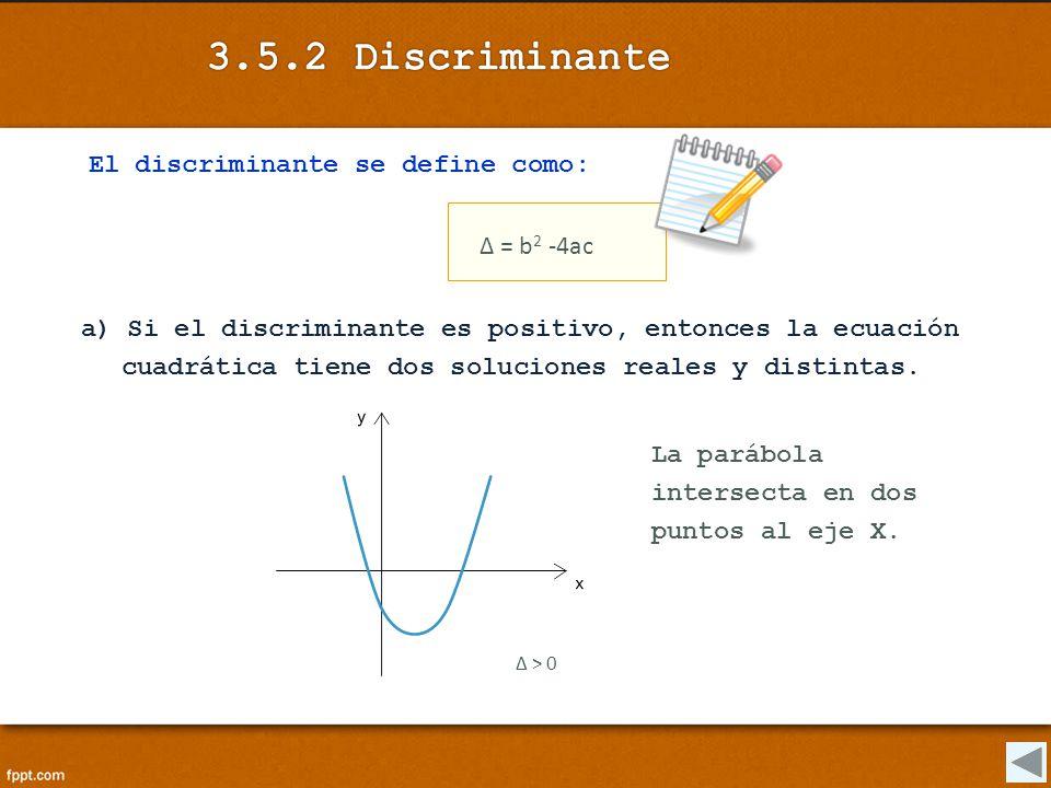 El discriminante se define como: Δ = b 2 -4ac a) Si el discriminante es positivo, entonces la ecuación cuadrática tiene dos soluciones reales y distin
