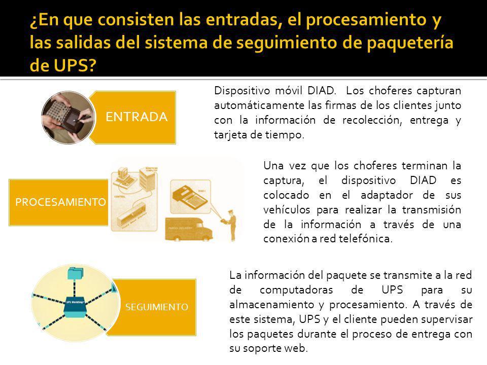 La información del paquete se transmite a la red de computadoras de UPS para su almacenamiento y procesamiento.