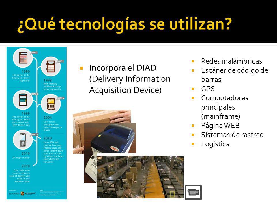 Incorpora el DIAD (Delivery Information Acquisition Device) Redes inalámbricas Escáner de código de barras GPS Computadoras principales (mainframe) Página WEB Sistemas de rastreo Logística