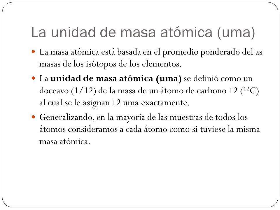 La unidad de masa atómica (uma) La masa atómica está basada en el promedio ponderado del as masas de los isótopos de los elementos. La unidad de masa