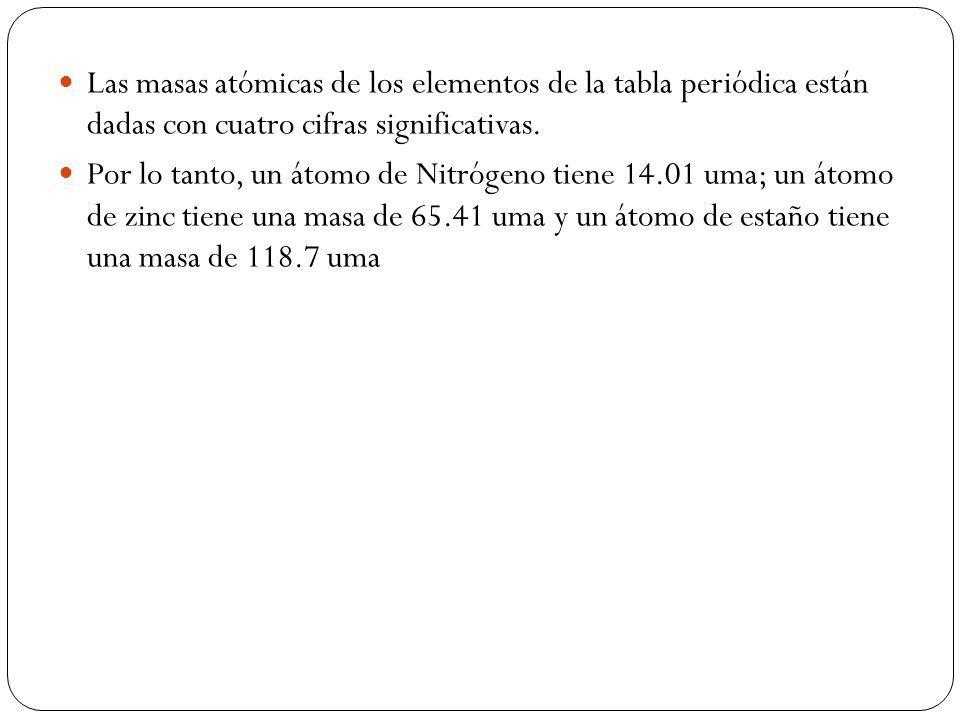Las masas atómicas de los elementos de la tabla periódica están dadas con cuatro cifras significativas. Por lo tanto, un átomo de Nitrógeno tiene 14.0