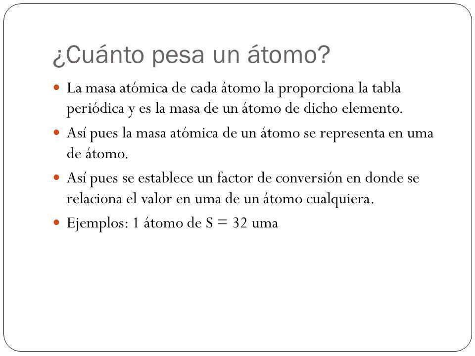¿Cuánto pesa un átomo? La masa atómica de cada átomo la proporciona la tabla periódica y es la masa de un átomo de dicho elemento. Así pues la masa at
