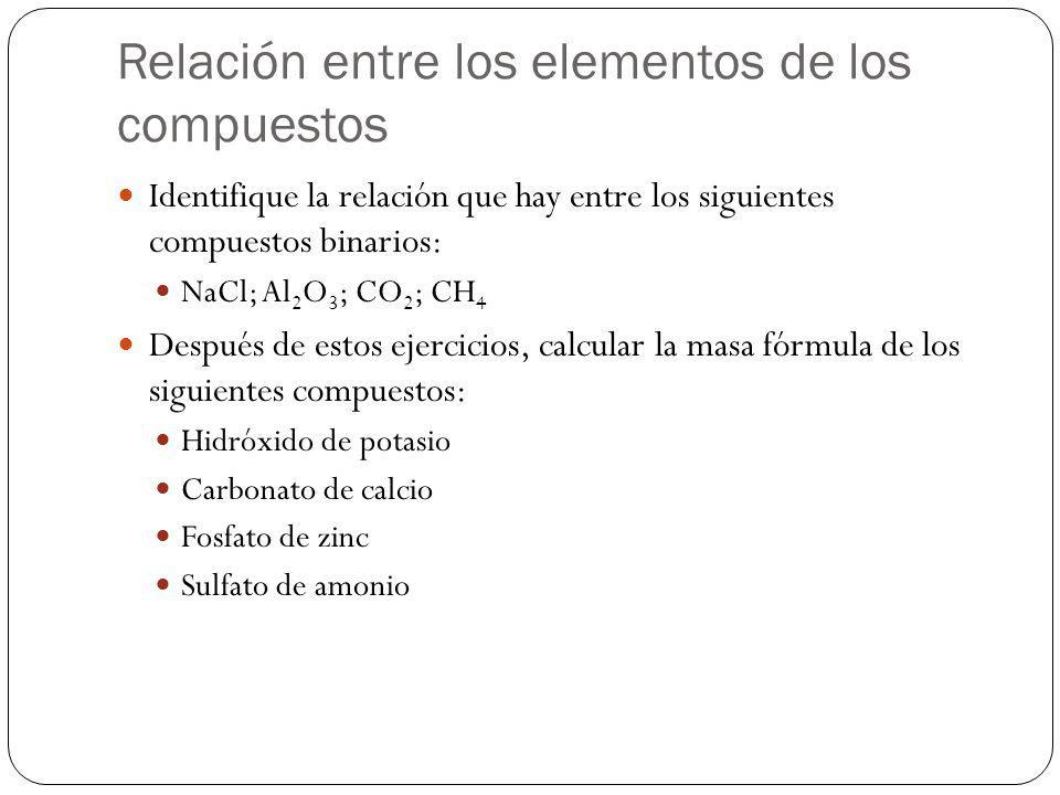 Relación entre los elementos de los compuestos Identifique la relación que hay entre los siguientes compuestos binarios: NaCl; Al 2 O 3 ; CO 2 ; CH 4