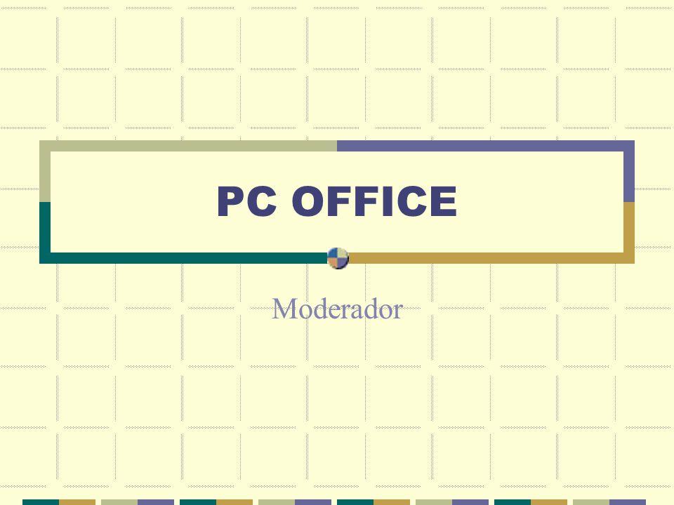 PC OFFICE Moderador Complete las tareas siguientes para modificar la presentación: 1.En la diapositiva dos, Orden del día, cree un hipervínculo inmediatamente después del primer texto con viñetas a la página Web www.galerias.com, con el texto PC OFFICE en pantalla.