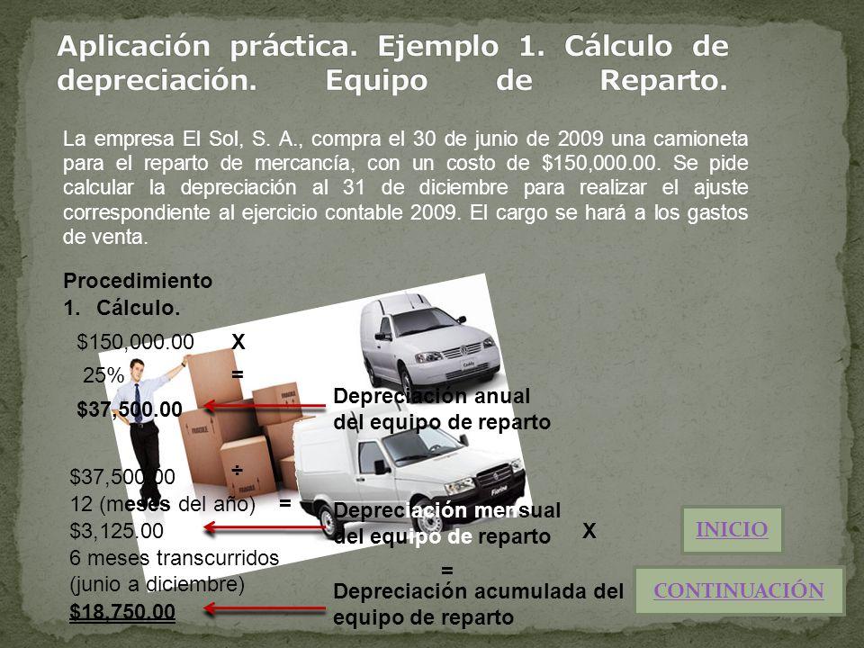 La empresa El Sol, S. A., compra el 30 de junio de 2009 una camioneta para el reparto de mercancía, con un costo de $150,000.00. Se pide calcular la d