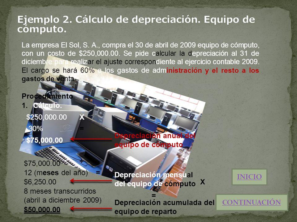 La empresa El Sol, S. A., compra el 30 de abril de 2009 equipo de cómputo, con un costo de $250,000.00. Se pide calcular la depreciación al 31 de dici