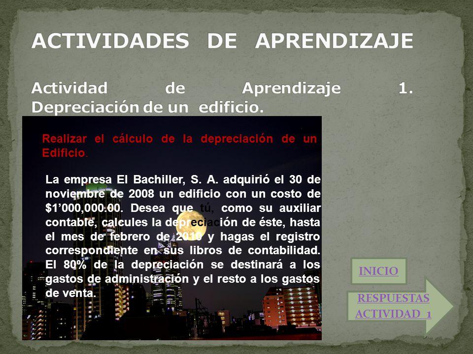 Realizar el cálculo de la depreciación de un Edificio. La empresa El Bachiller, S. A. adquirió el 30 de noviembre de 2008 un edificio con un costo de