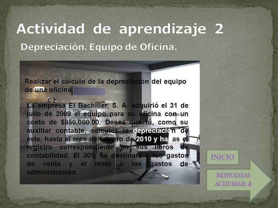 Realizar el cálculo de la depreciación del equipo de una oficina. La empresa El Bachiller, S. A. adquirió el 31 de julio de 2009 el equipo para su ofi