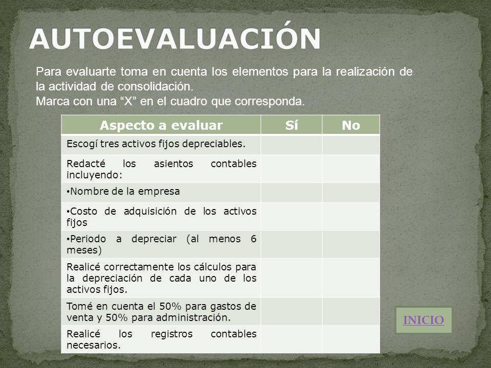 Para evaluarte toma en cuenta los elementos para la realización de la actividad de consolidación. Marca con una X en el cuadro que corresponda. Aspect