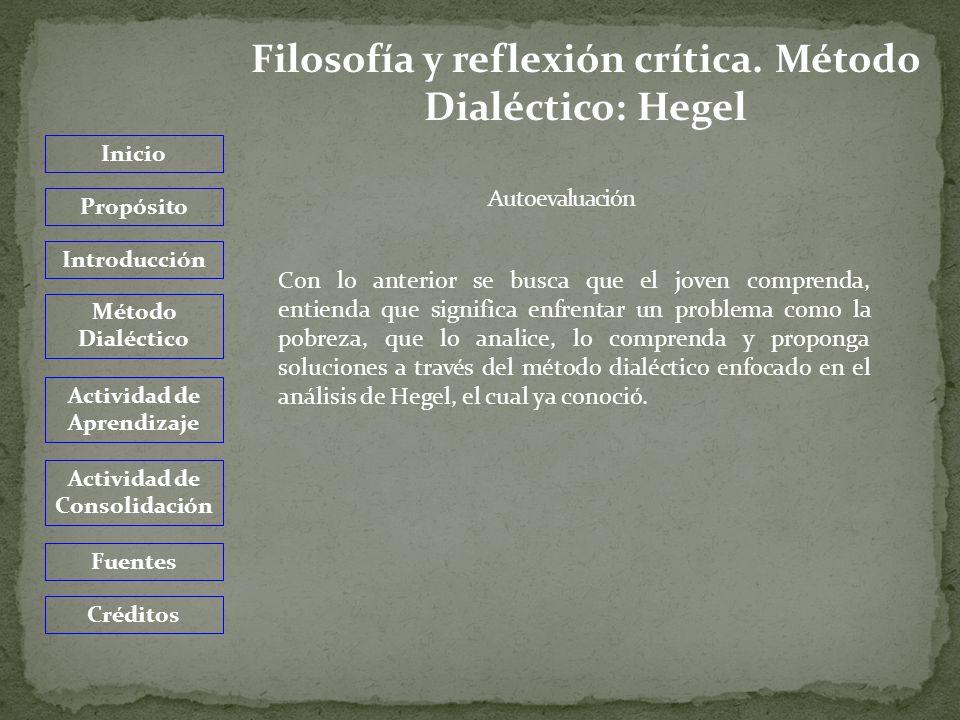 Inicio Propósito Introducción Método Dialéctico Actividad de Aprendizaje Actividad de Consolidación Fuentes Créditos Heidegger, Martin.