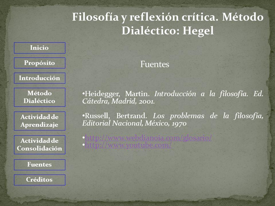 Inicio Propósito Introducción Método Dialéctico Actividad de Aprendizaje Actividad de Consolidación Fuentes Créditos Filosofía y reflexión crítica.