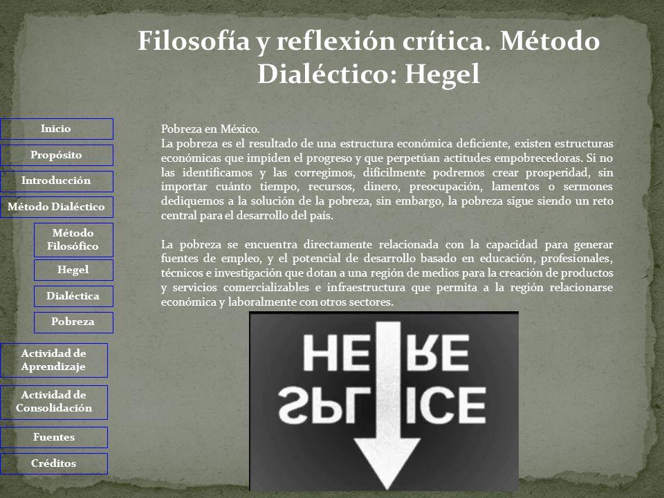 Inicio Propósito Introducción Método Dialéctico Actividad de Aprendizaje Actividad de Consolidación Fuentes Créditos 1.Investiga en que estados de la Republica Mexicana se registran los altos, medios y bajos índices de pobreza.