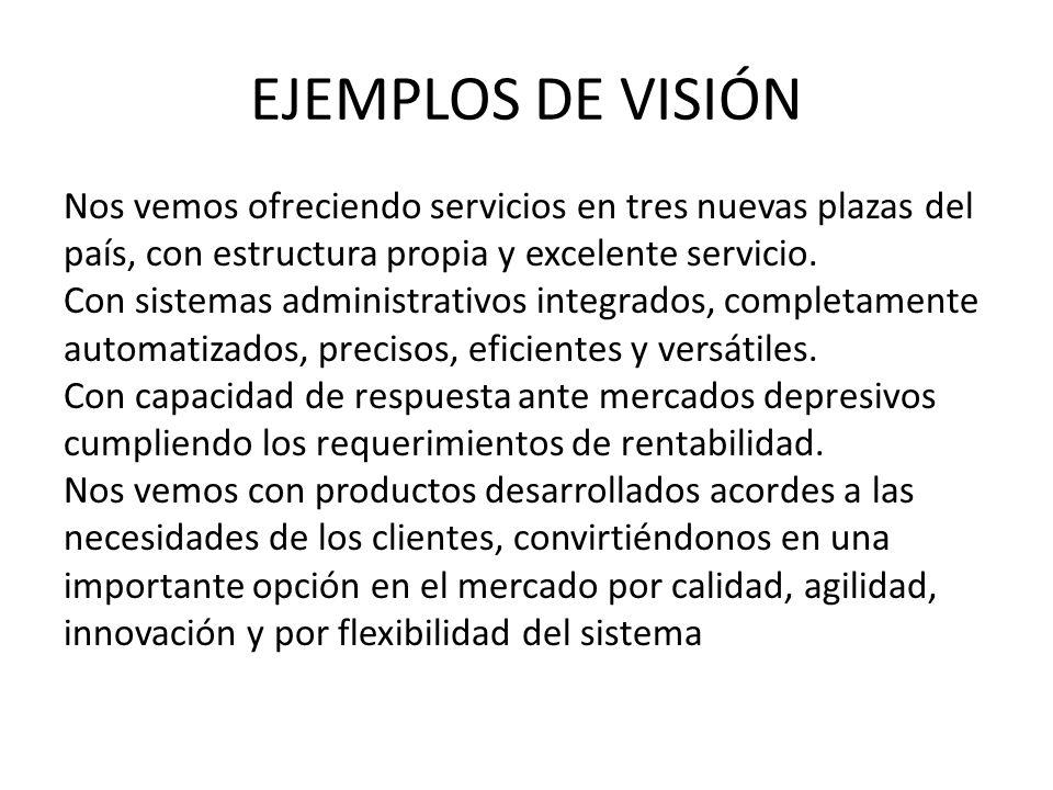 EJEMPLOS DE VISIÓN Empresa líder dentro de la industria de acabados de la construcción, por su éxito con los clientes, innovación, tecnología y habilidad para competir exitosamente en los mercados internacionales.
