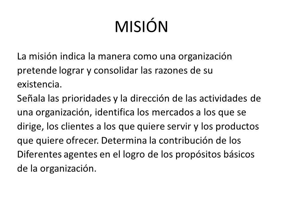 ELEMENTOS DE LA MISIÓN Definición del negocio Visión y metas principales Filosofía corporativa