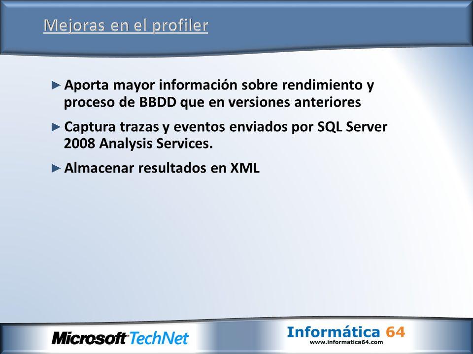 Aporta mayor información sobre rendimiento y proceso de BBDD que en versiones anteriores Captura trazas y eventos enviados por SQL Server 2008 Analysi