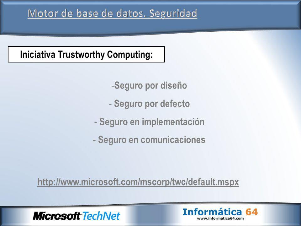 Motor de base de datos. Seguridad Iniciativa Trustworthy Computing: http://www.microsoft.com/mscorp/twc/default.mspx - Seguro por diseño - Seguro por