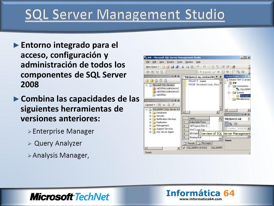Gestión completa de: Servidores de BBDD relacionales Servidores de BBDD de Analysis Services Servidores de Reporting Services Servidores de Integration Services Herramientas visuales para generar: Transact-SQL XMLA MDX DMX