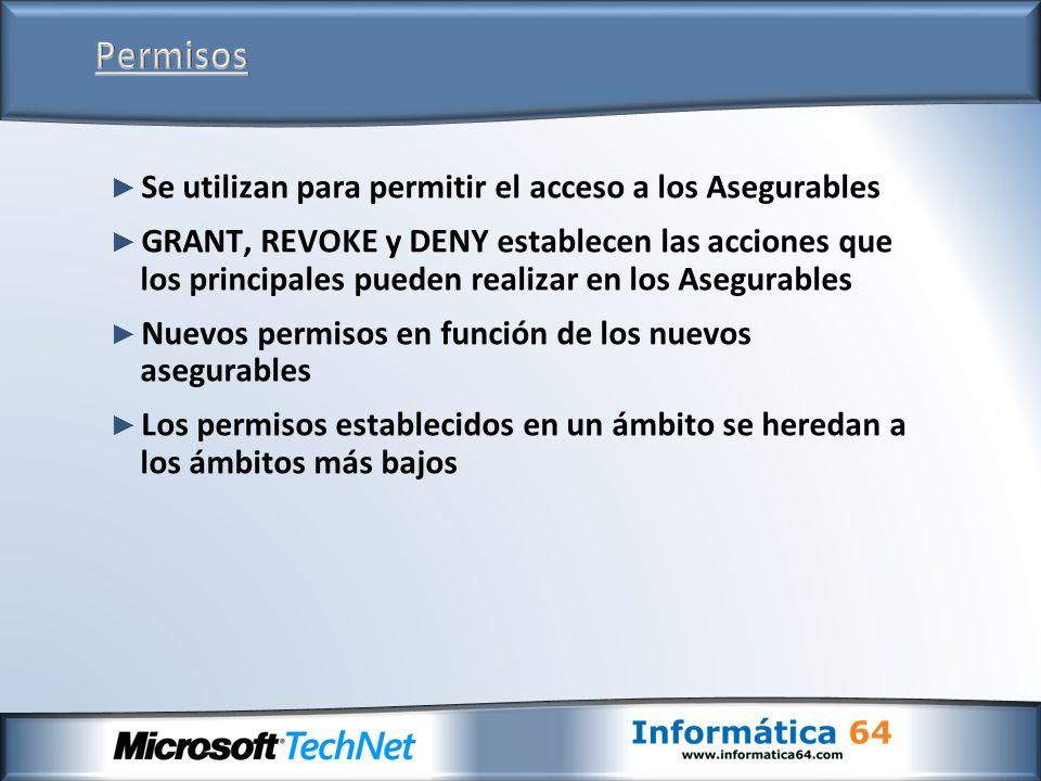 Se utilizan para permitir el acceso a los Asegurables GRANT, REVOKE y DENY establecen las acciones que los principales pueden realizar en los Asegurab