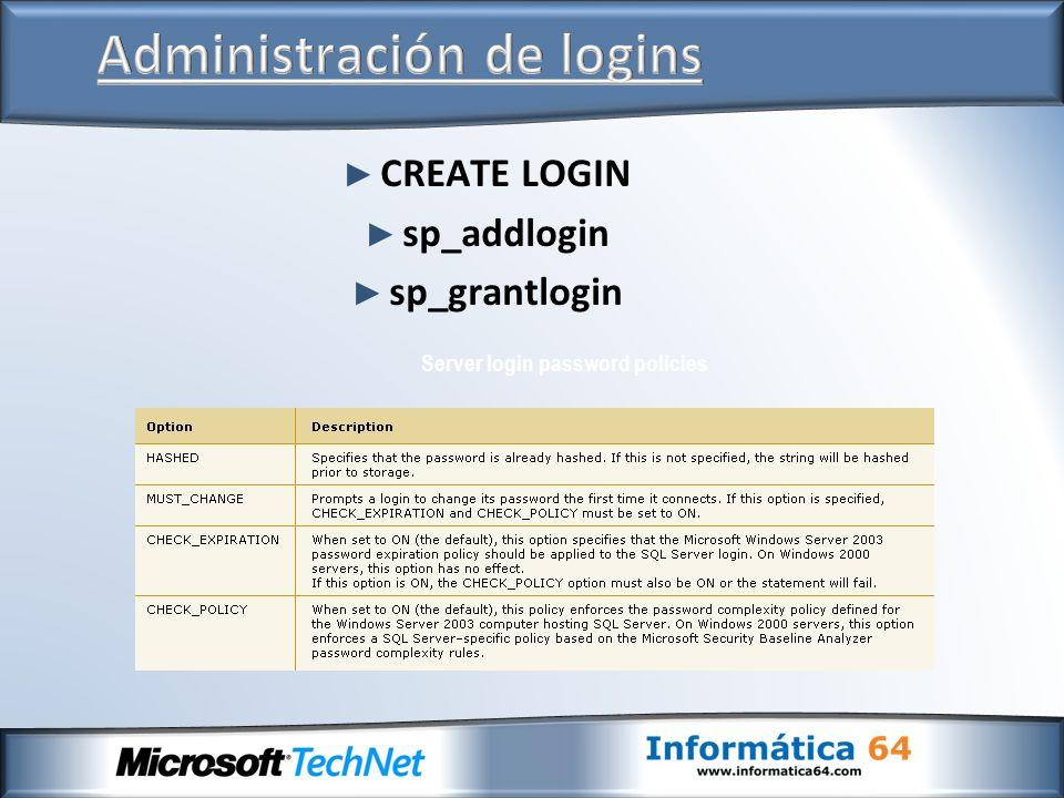 CREATE LOGIN sp_addlogin sp_grantlogin Server login password policies