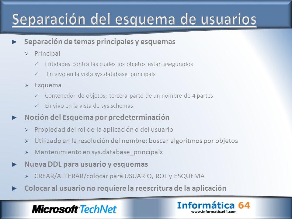 Separación de temas principales y esquemas Principal Entidades contra las cuales los objetos están asegurados En vivo en la vista sys.database_princip