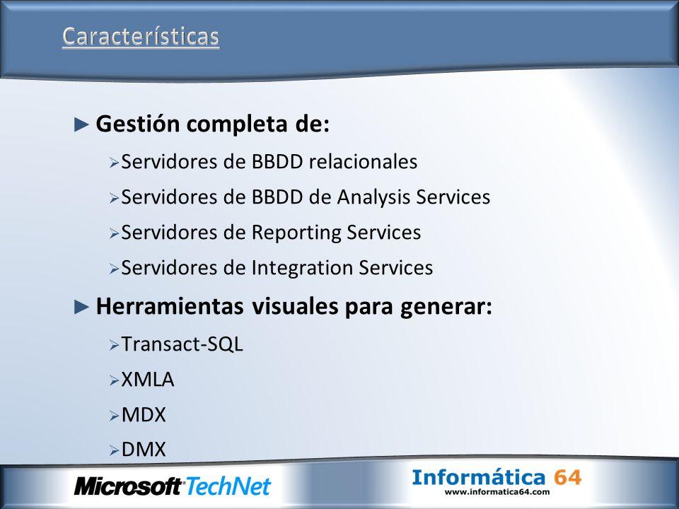 Gestión completa de: Servidores de BBDD relacionales Servidores de BBDD de Analysis Services Servidores de Reporting Services Servidores de Integratio