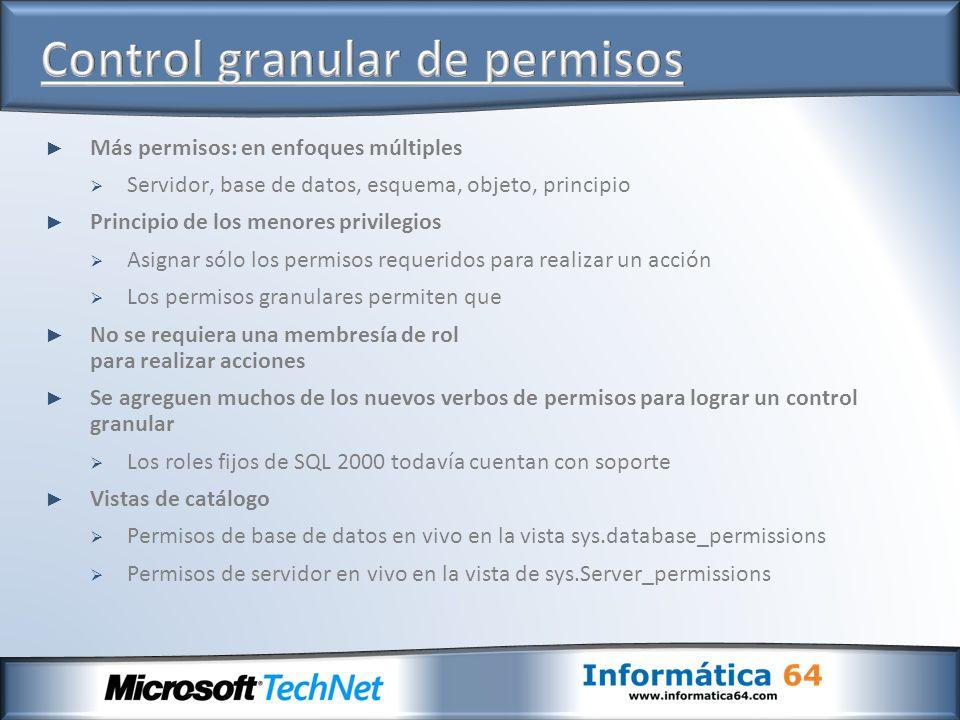Más permisos: en enfoques múltiples Servidor, base de datos, esquema, objeto, principio Principio de los menores privilegios Asignar sólo los permisos
