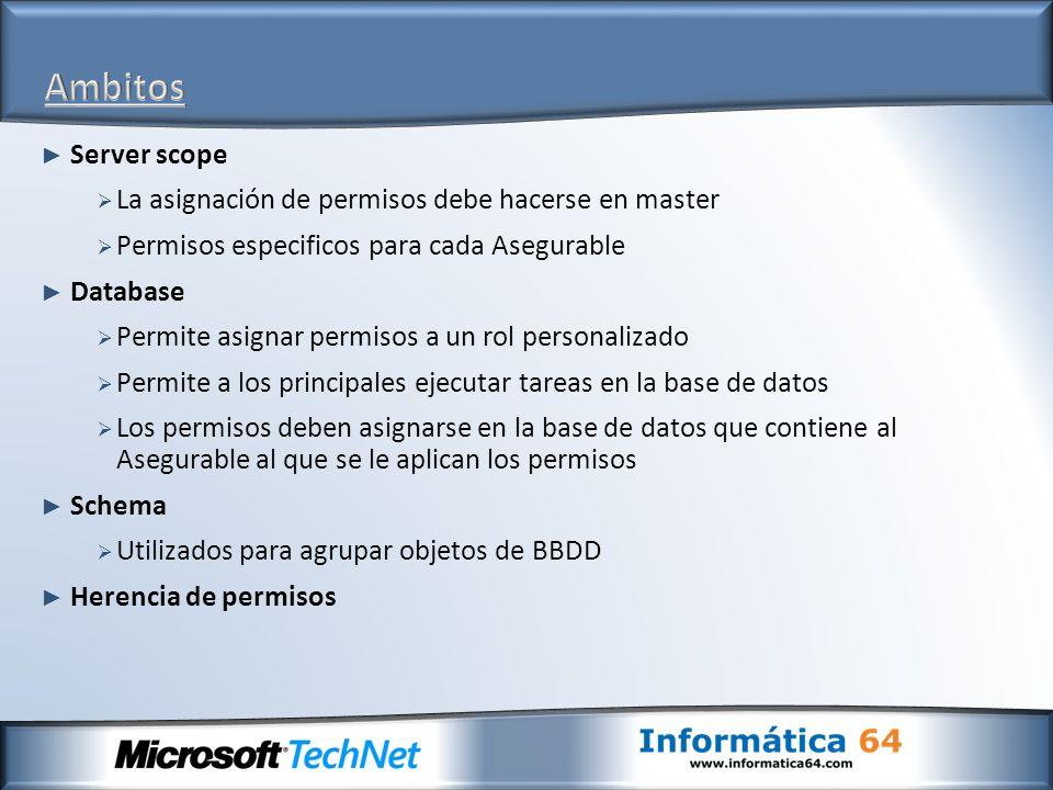 Server scope La asignación de permisos debe hacerse en master Permisos especificos para cada Asegurable Database Permite asignar permisos a un rol per