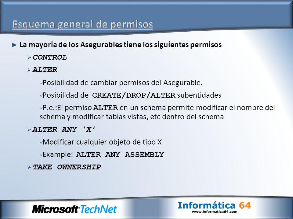 La mayoria de los Asegurables tiene los siguientes permisos CONTROL ALTER Posibilidad de cambiar permisos del Asegurable. Posibilidad de CREATE/DROP/A