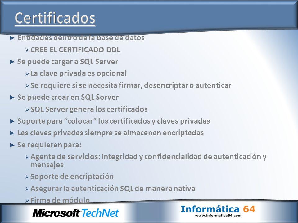 Entidades dentro de la base de datos CREE EL CERTIFICADO DDL Se puede cargar a SQL Server La clave privada es opcional Se requiere si se necesita firm