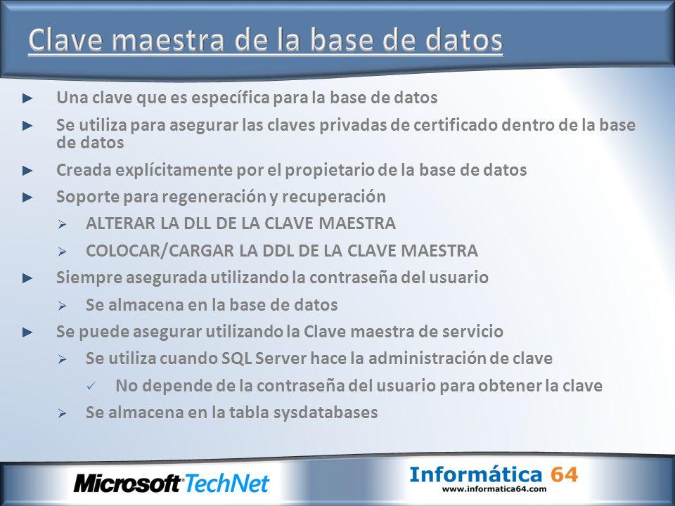 Una clave que es específica para la base de datos Se utiliza para asegurar las claves privadas de certificado dentro de la base de datos Creada explíc