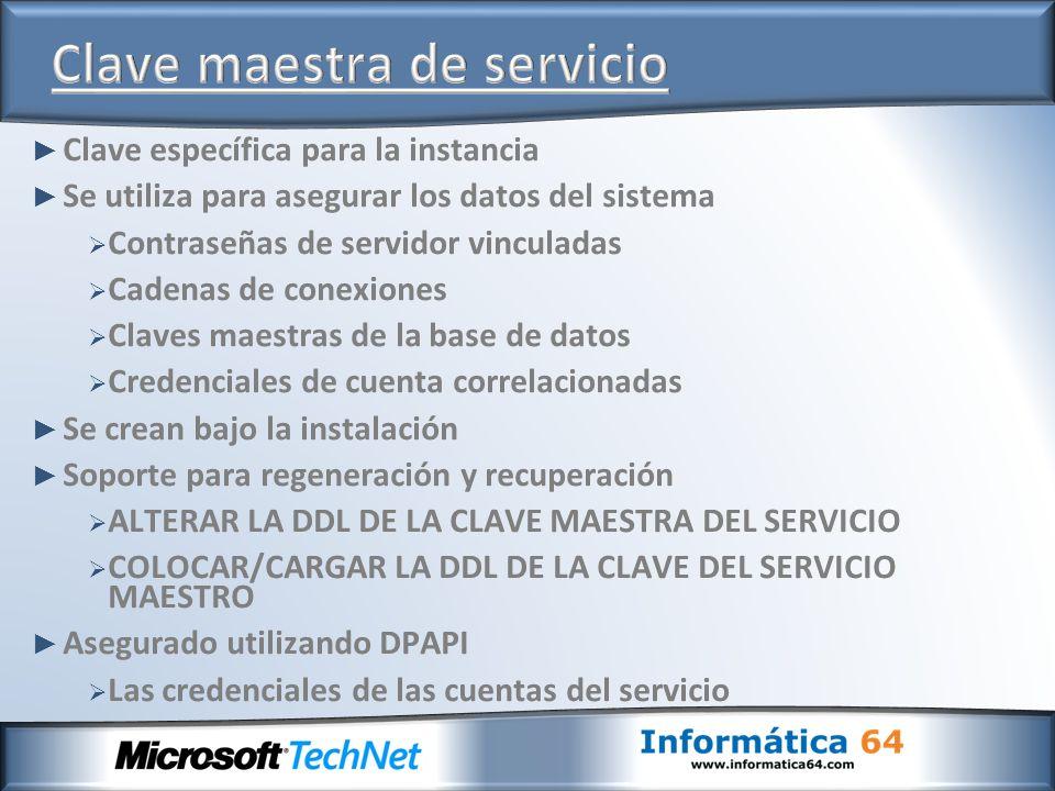 Clave específica para la instancia Se utiliza para asegurar los datos del sistema Contraseñas de servidor vinculadas Cadenas de conexiones Claves maes