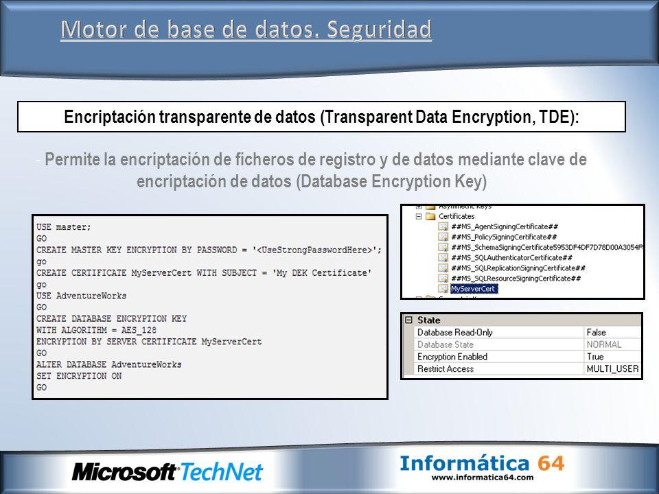 Motor de base de datos. Seguridad Encriptación transparente de datos (Transparent Data Encryption, TDE): - Permite la encriptación de ficheros de regi