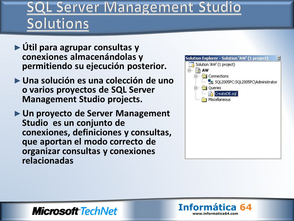 Utilización de Server Management Studio Uso de Configuration Manager Utilidad sqlcmd SQL Management Objects (SMO) SQL Profiler DDL Triggers Vistas de Metadatos Seguridad en SQL Server 2008 Gestión de permisos Gestión de Certificados