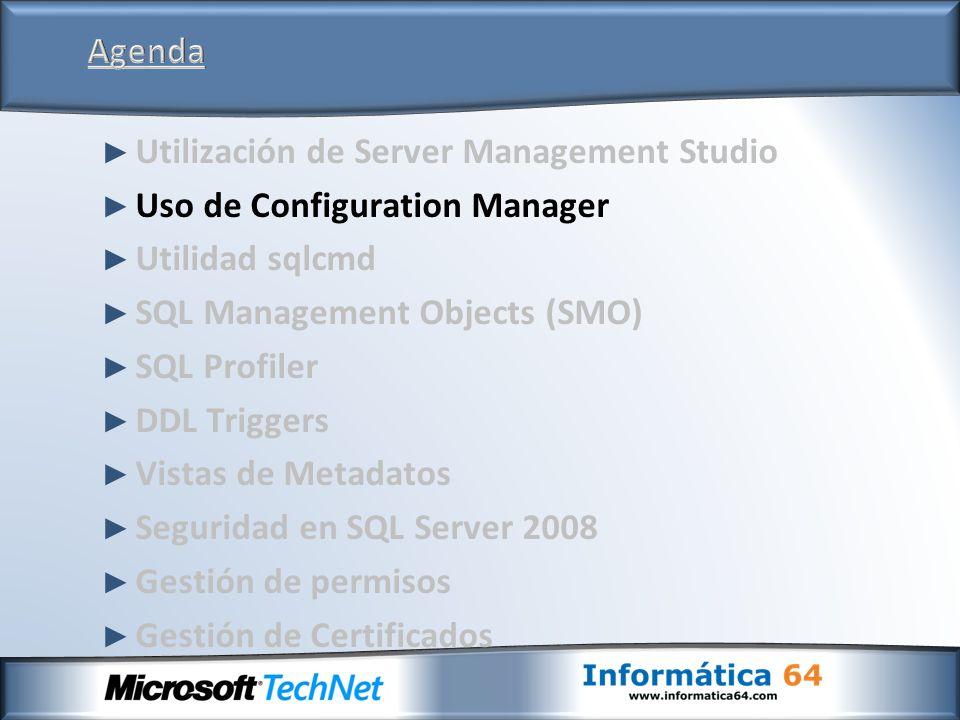 Canal más fuerte para el protocolo de autenticación en el inicio de sesión estándar de SQL El canal está encriptado utilizando certificados generados por SQL No se necesita la carga de un certificado SSL Similar a la implementación actual de SSL Mecanismo predeterminado para los inicios de sesión estándar SQL en los clientes SQL Server 2008 que se comunican con un servidor SQL Server 2008 Transparente a las aplicaciones; no requiere un cambio de aplicación Soporte para la autenticación bajo el viejo estilo para los clientes con un nivel menor