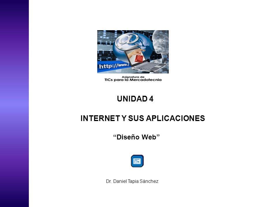 UNIDAD 4 INTERNET Y SUS APLICACIONES Diseño Web Dr. Daniel Tapia Sánchez