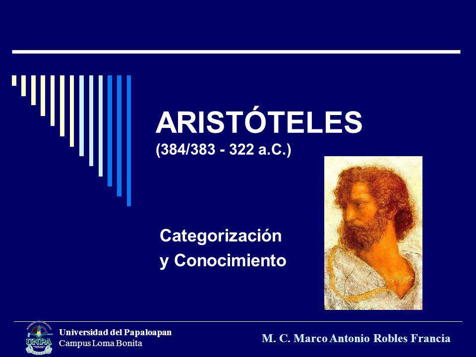 ARISTÓTELES (384/383 - 322 a.C.) Categorización y Conocimiento Universidad del Papaloapan Campus Loma Bonita M. C. Marco Antonio Robles Francia