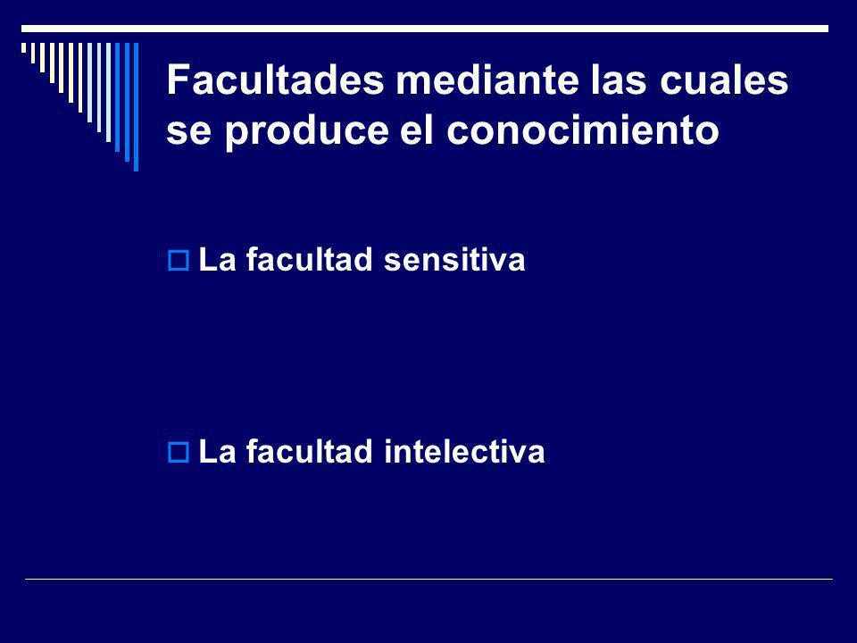 Facultades mediante las cuales se produce el conocimiento La facultad sensitiva La facultad intelectiva